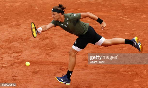 Josef Kovalik of Slovakia plays a forehand during the mens singles first round match against Stan Wawrinka of Switzerland on day three of the 2017...