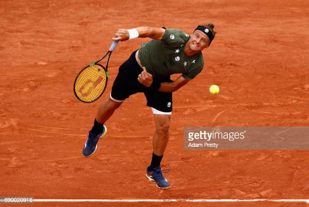 Josef Kovalik of Slovakia serves during the mens singles first round match against Stan Wawrinka of Switzerland on day three of the 2017 French Open...
