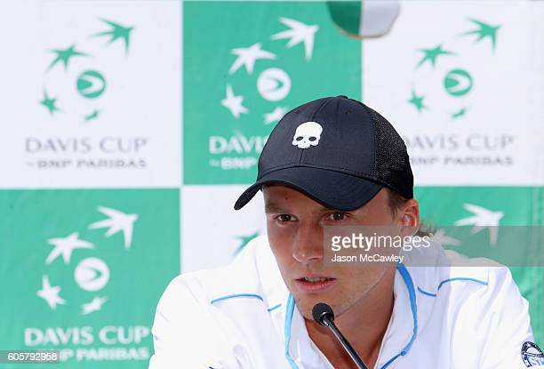 Josef Kovalik of Slovakia speaks to the media during the Davis Cup World Group Playoff Australia v Slovakia Official Draw at Circular Quay on...