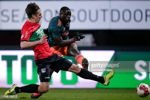 Josef Kvida of NEC Nijmegen, Brian Brobbey of Ajax U23 during the Dutch Keuken Kampioen Divisie match between NEC Nijmegen v Ajax U23 at the Goffert...