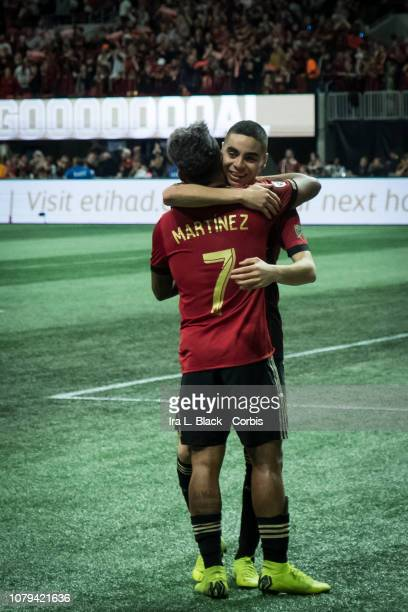 Josef Martinez of Atlanta United celebrates after his goal to put Atlanta United ahead with teammate Miguel Almiron of Atlanta United during the 2018...