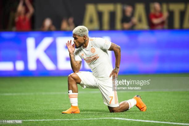 Josef Martinez of Atlanta United celebrates after scoring his first goal of the game during the second half of the game between Atlanta United and...