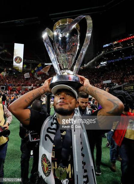Josef Martinez of Atlanta United celebrates with the MLS Cup after their 20 win over the Portland Timbers during the 2018 MLS Cup between Atlanta...