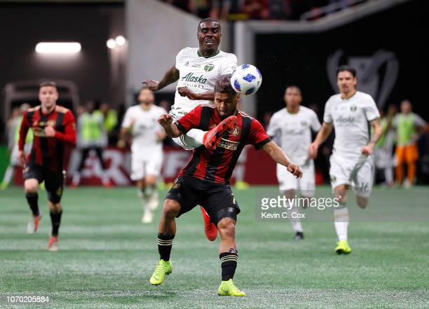 Josef Martinez of Atlanta United draws a penalty from Larrys Mabiala of Portland Timbers in the second half during the 2018 MLS Cup between Atlanta...