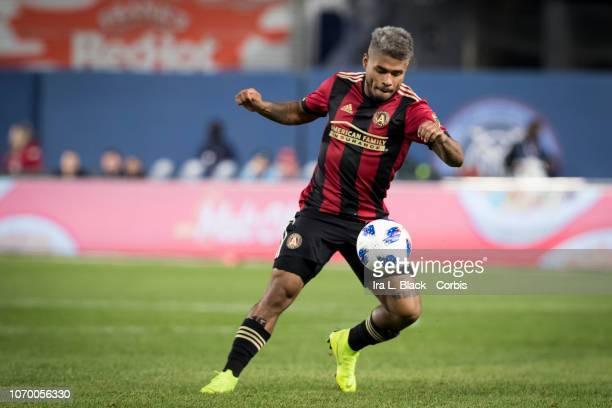 Josef Martinez of Atlanta United drives the ball forward during the 1st half of the Audi 2018 MLS Cup Playoffs Eastern Conference Semifinal Leg 1...