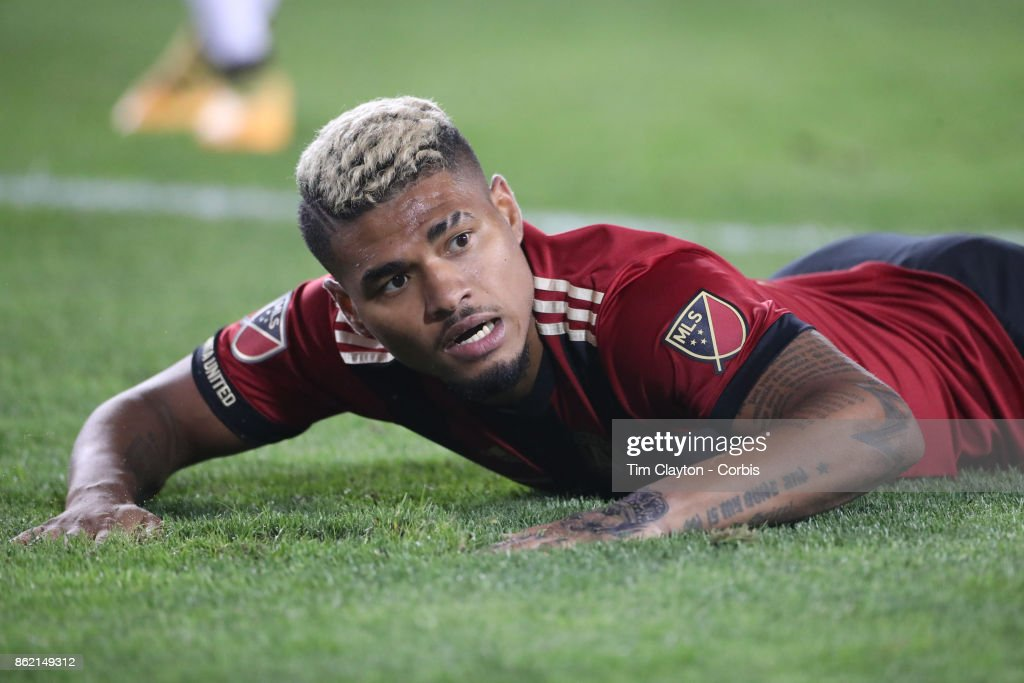 Josef Martinez #7 of Atlanta United reacts after just failing to connect to a low cross during the New York Red Bulls Vs Atlanta United FC, MLS regular season match at Red Bull Arena, Harrison, New Jersey on October 15, 2017 in Harrison, New Jersey.