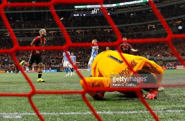 Josef Martinez of Atlanta United reacts after scoring a penalty kick goal past goalkeeper Sean Johnson of New York City during the Eastern Conference...