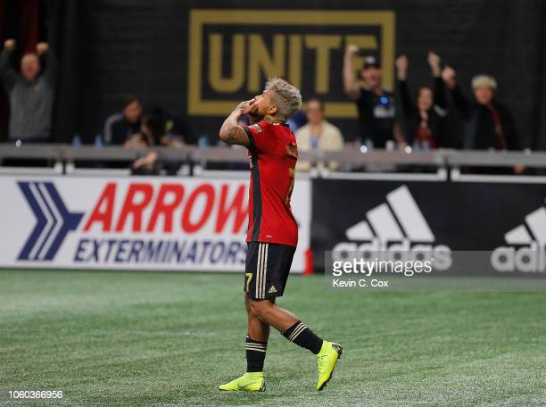 Josef Martinez of Atlanta United reacts after scoring the first goal on a penalty kick against the New York City during the Eastern Conference...