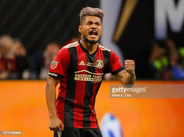 Josef Martinez of Atlanta United reacts after scoring the first goal against the Portland Timbers during the 2018 MLS Cup between Atlanta United and...