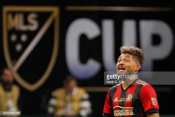 Josef Martinez of Atlanta United reacts after scoring the first goal against the Portland Timbers in the first half during the 2018 MLS Cup between...