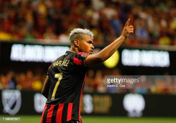 Josef Martinez of Atlanta United reacts after scoring the third goal on a penalty kick against the Club America during the final of the Campeones Cup...