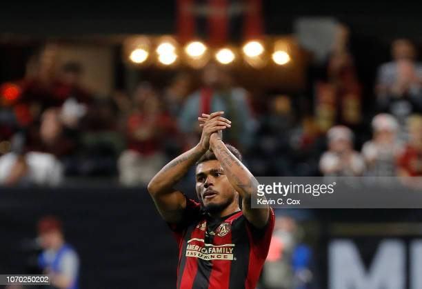 Josef Martinez of Atlanta United reacts as he leaves the pitch against the Portland Timbers during the 2018 MLS Cup between Atlanta United and the...