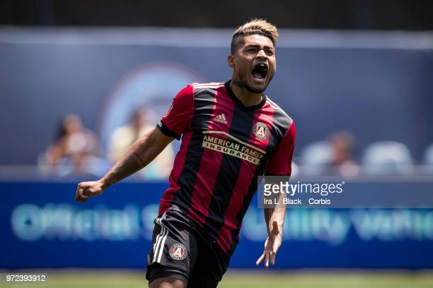 Josef Martinez of Atlanta United reacts to a missed shot on goal during the match between New York City FC and Atlanta United FC at Yankee Stadium on...
