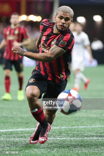 Josef Martinez of Atlanta United runs to the ball during the first half of the game between Atlanta United and Philadelphia Union at MercedesBenz...