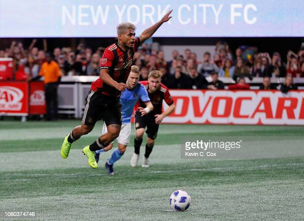 Josef Martinez of Atlanta United scores the first goal on a penalty kick against the New York City during the Eastern Conference Semifinals between...