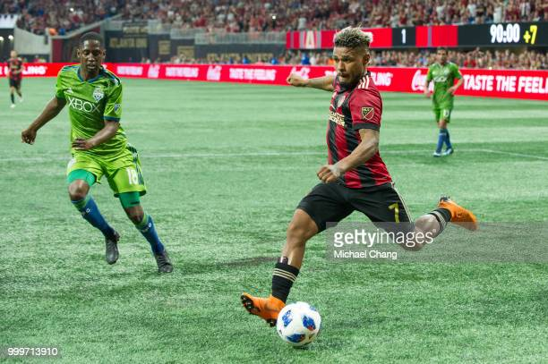 Josef Martinez of Atlanta United takes a shot in front of Kelvin Leerdam of Seattle Sounders FC 2 during the game at MercedesBenz Stadium on July 15...