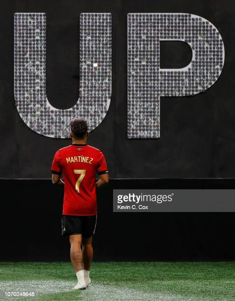 Josef Martinez of Atlanta United walks to the stage after being named MVP in their 20 win over the Portland Timbers during the 2018 MLS Cup between...