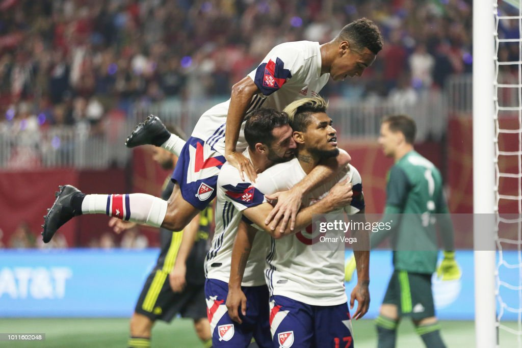 Josef Martinez of MLS All-Stars celebrates with teammates after scoring the equalizer during a match between Juventus and MLS All-Stars at Mercedes-Benz Stadium on August 1, 2018 in Atlanta, Georgia.