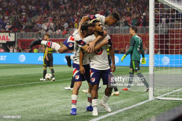 Josef Martinez of the MLS Allstars celebrates after scoring a goal to make it 11 during the 2018 MLS AllStars game between Juventus v MLS AllStars at...