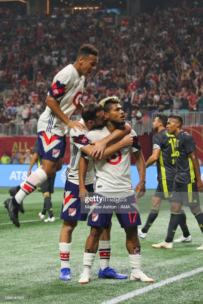 Josef Martinez of the MLS Allstars celebrates after scoring a goal to make it 1-1 during the 2018 MLS All-Stars game between Juventus v MLS All-Stars at Mercedes-Benz Stadium on August 1, 2018 in Atlanta, Georgia.