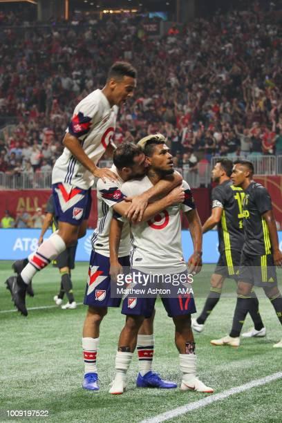 Josef Martinez of the MLS Allstars celebrates after scoring a goal to make it 11 during the 2018 MLS AllStars game between Juventus v MLS AllStars at...