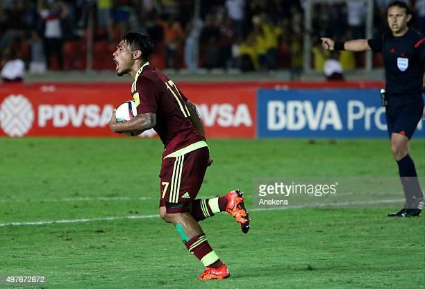Josef Martinez of Venezuela celebrates after scoring the only goal of his team during a match between Venezuela and Ecuador as part of FIFA 2018...