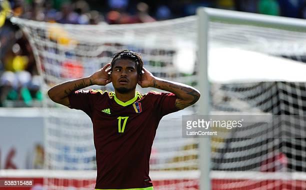 Josef Martinez of Venezuela celebrates after scoring the opening goal during a group C match between Jamaica and Venezuela at Soldier Field Stadium...
