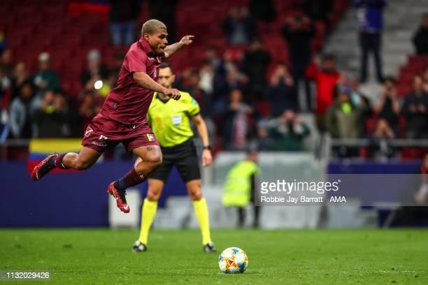 Josef Martinez of Venezuela scores a goal to make it 13 during the International Friendly match between Argentina and Venezuela at Estadio Wanda...
