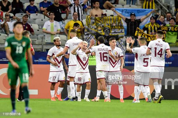 Josef Martínez of Venezuela celebrates with teammates after scoring the third goal of his team against Bolivia during a match between Bolivia and...