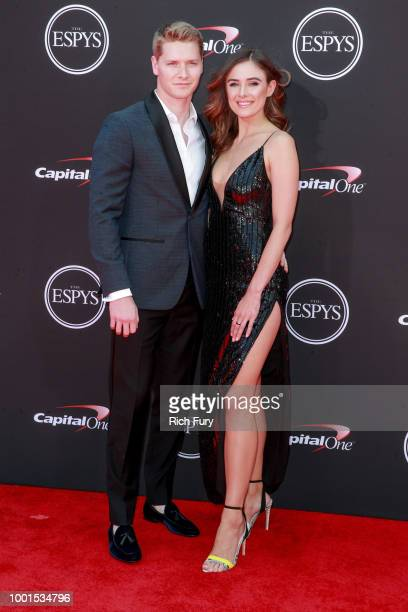 Josef Newgarden and guest attend the 2018 ESPYS at Microsoft Theater on July 18 2018 in Los Angeles California