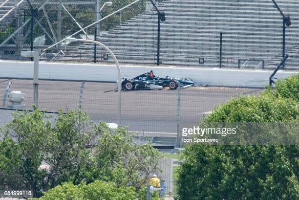 Josef Newgarden crashing in Turn 1 on the fourth day of practice for the 101st Indianapolis on May 18 at the Indianapolis Motor Speedway in...