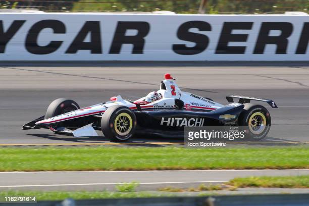 Josef Newgarden driver of the Hitachi Team Penske Chevrolet drives during the IndyCar Series ABC Supply 500 on August 18 2019 at Pocono Raceway in...