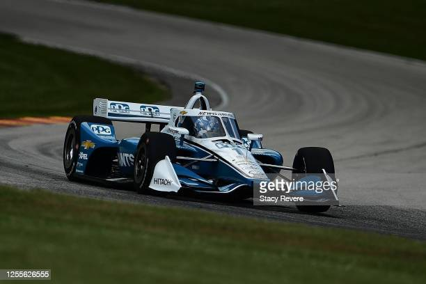 Josef Newgarden, driver of the PPG Team Penske Chevrolet, qualifies for the NTT IndyCar Series Rev Group Grand Prix Race 1 at Road America on July...