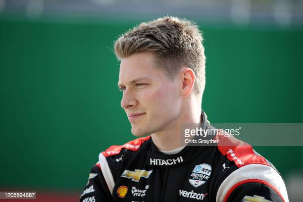 Josef Newgarden, driver of the Team Penske Chevrolet, prepares to drive during NTT IndyCar Series testing at Circuit of The Americas on February 12,...