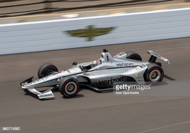 Josef Newgarden driver of the Verizon Team Penske Chevrolet on the track for the practice session during Pole Day for the Indianapolis 500 on May 20...