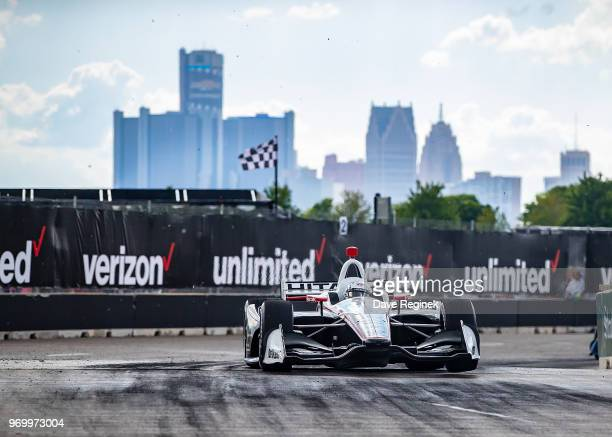 Josef Newgarden drives the Chevrolet Indy Car for Team Penske during the Chevrolet Dual in Detroit Dual II during 2018 Chevrolet Detroit Grand Prix...