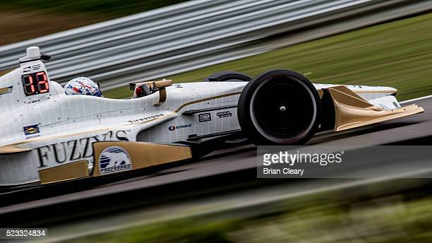 Josef Newgarden drives the Chevrolet IndyCar on the track during practice for the Honda Indy Grand Prix of Alabama at Barber Motorsports Park on...