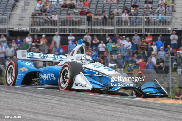 Josef Newgarden of Team Penske driving a Chevy accelerates out of turn 1 during the IndyCar Classic at Circuit of the Americas on March 24 2019 in...