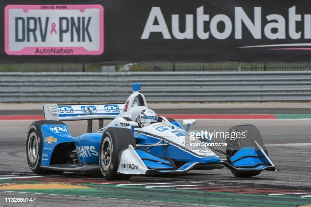 Josef Newgarden of Team Penske driving a Chevy accelerates out of turn 19 during the IndyCar Classic at Circuit of the Americas on March 24 2019 in...