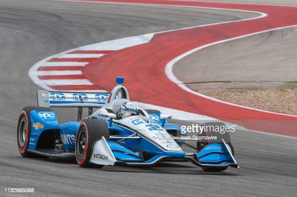 Josef Newgarden of Team Penske driving a Chevy races through turn 15 during the IndyCar Classic at Circuit of the Americas on March 24 2019 in Austin...
