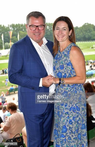 Josef Schmid and his wife Natalie Schmid during the annual Dallmayr Award at Galopprennbahn Riem on July 28 2019 in Munich Germany