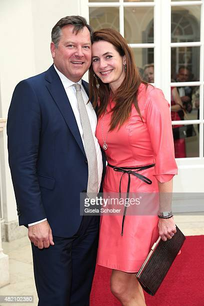 Josef Schmid and his wife Natalie Schmid during the 'Die Goldene Deutschland' Gala on July 26 2015 at Cuvillies Theater in Munich Germany