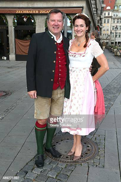 Josef Schmid and his wife Natalie Schmid during the 'Fruehstueck bei Tiffany' at Tiffany Store ahead of the Oktoberfest 2015 on September 19 2015 in...