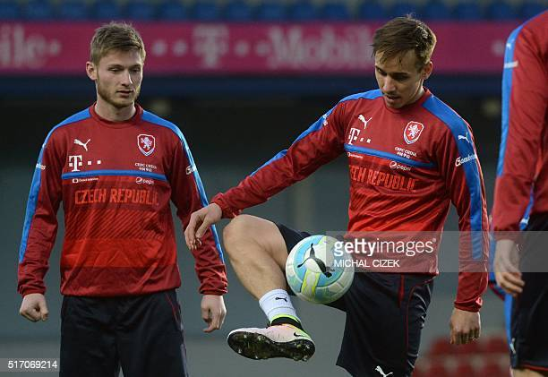 Josef Sural of Czech national football team controls the ball during a training session ahead of their friendly against Scotland at the Arena in...