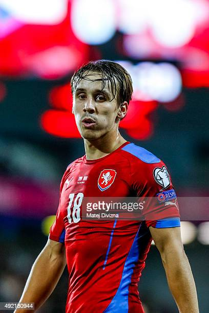 Josef Sural of Czech Republic in action during the UEFA EURO 2016 Group A Qualifier match between Czech Republic and Turkey at Letna Stadium on...