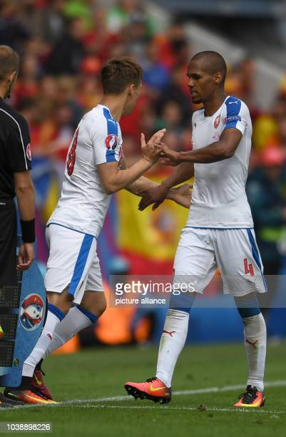 Josef Sural of Czech Republic substitutes Theodor Gebre Selassie during the Group D soccer match of the UEFA EURO 2016 between Spain and Czech...