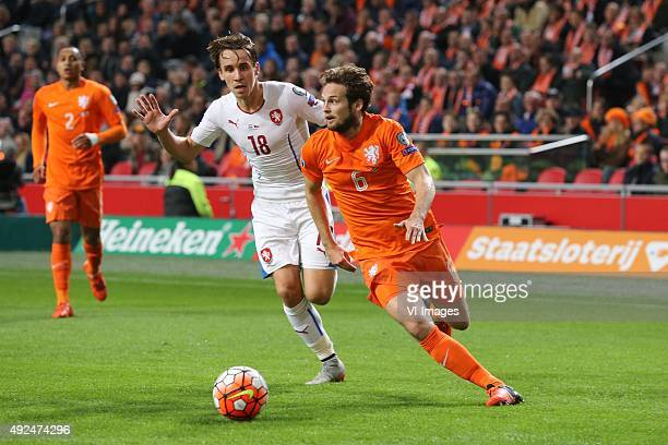Josef Sural of Czech Republik Daley Blind of Holland during the EURO 2016 qualifying match between Netherlands and Czech Republic on October 10 2015...