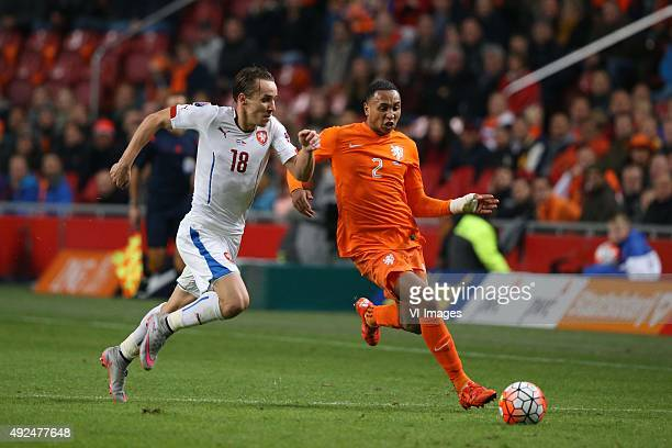 Josef Sural of Czech Republik Kenny Tete of Holland during the EURO 2016 qualifying match between Netherlands and Czech Republic on October 10 2015...