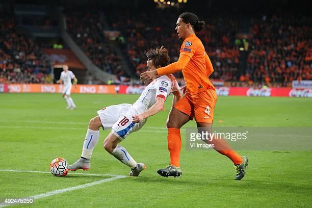 Josef Sural of Czech Republik Virgil van Dijk of Holland during the EURO 2016 qualifying match between Netherlands and Czech Republic on October 10...