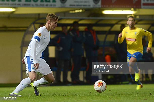 Josef Sural of FC Slovan Liberec in action during the UEFA Europa League group stage match between FC Slovan Liberec and Estoril Praia held on...